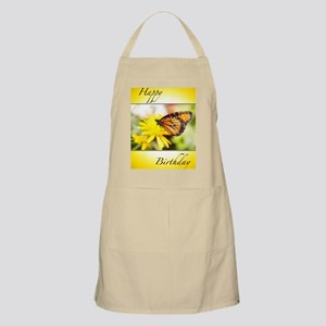 Happy Birthday Monarch Butterfly And Dahlia Apron