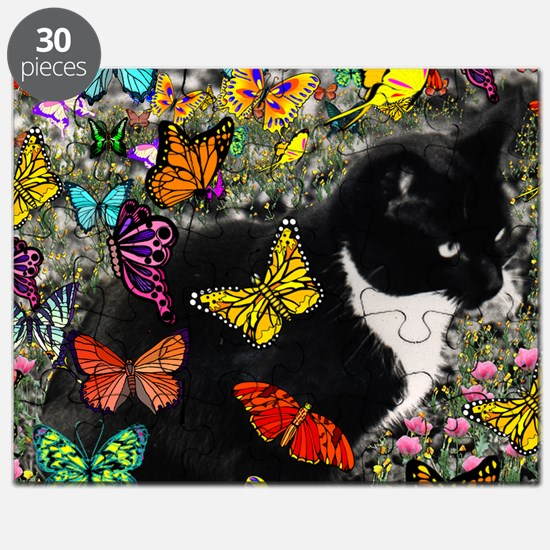 Freckles the Tux Cat in Butterflies I Puzzle