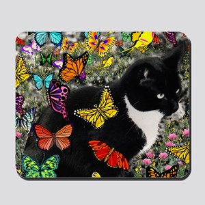 Freckles the Tux Cat in Butterflies I Mousepad