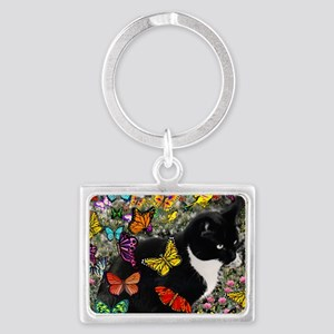 Freckles the Tux Cat in Butterf Landscape Keychain