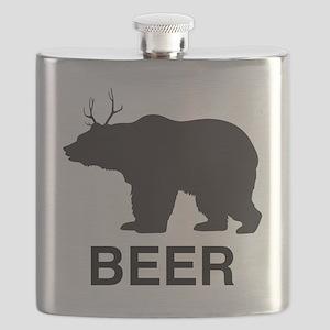 Beer. Bear with Deer Antlers Flask