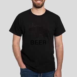 Beer. Bear with Deer Antlers Dark T-Shirt