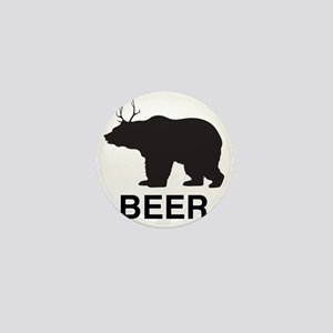 Beer. Bear with Deer Antlers Mini Button