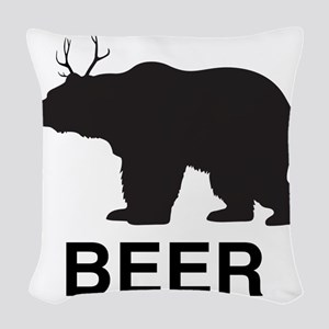 Beer. Bear with Deer Antlers Woven Throw Pillow