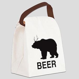 Beer. Bear with Deer Antlers Canvas Lunch Bag