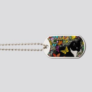 Freckles the Tuxedo Kitty in Butterflies  Dog Tags