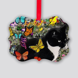Freckles the Tuxedo Kitty in Butt Picture Ornament
