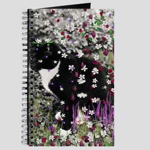 Freckles the Tux Cat in Flowers I Journal