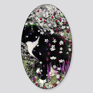 Freckles the Tux Cat in Flowers I Sticker (Oval)
