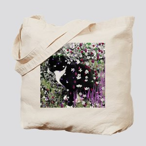 Freckles the Tux Cat in Flowers I Tote Bag