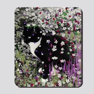Freckles the Tux Cat in Flowers I Mousepad