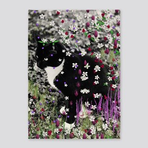 Freckles the Tux Cat in Flowers I 5'x7'Area Rug