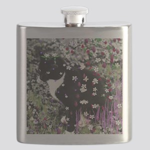 Freckles the Tux Cat in Flowers I Flask