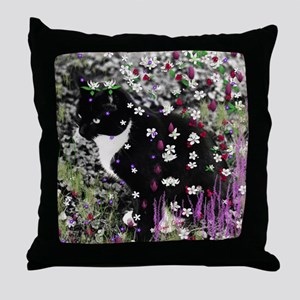 Freckles the Tux Cat in Flowers I Throw Pillow