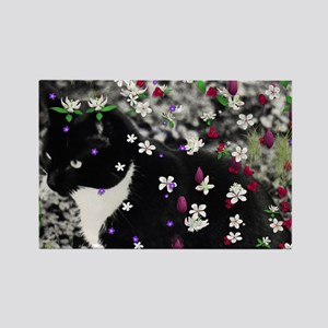 Freckles the Tux Kitty in Flowers Rectangle Magnet