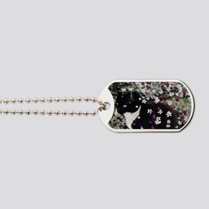Freckles the Tux Kitty in Flowers I Dog Tags