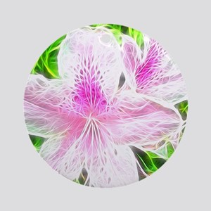 Electrifying Pink Daylilies Round Ornament