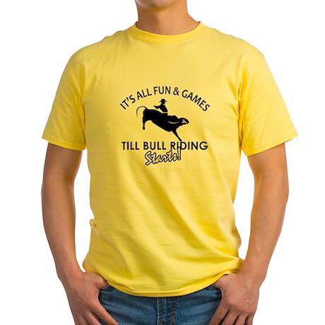 Cool Bull Riding Designs Yellow T-Shirt