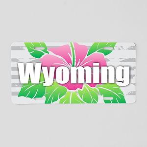 Wyoming Hibiscus Aluminum License Plate