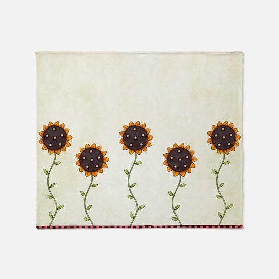 Primitive Sunflowers Shower Curtain Throw Blanket