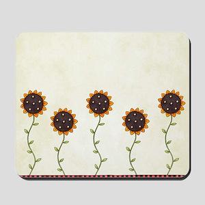 Primitive Sunflowers Shower Curtain Mousepad