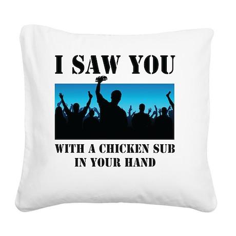 Chicken Sub Square Canvas Pillow
