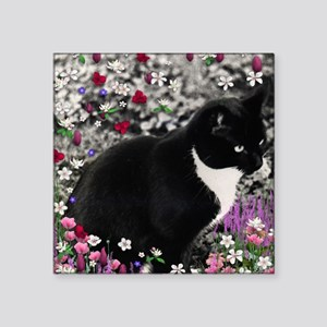 "Freckles the Tux Cat in Flo Square Sticker 3"" x 3"""