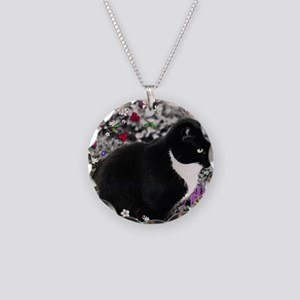Freckles the Tux Cat in Flow Necklace Circle Charm