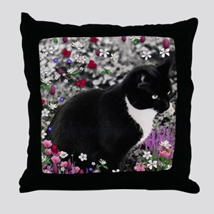 Freckles the Tux Cat in Flowers II Throw Pillow