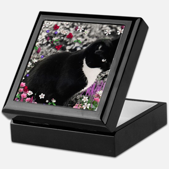 Freckles the Tux Cat in Flowers II Keepsake Box