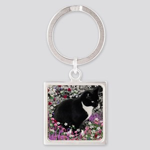 Freckles the Tux Cat in Flowers II Square Keychain