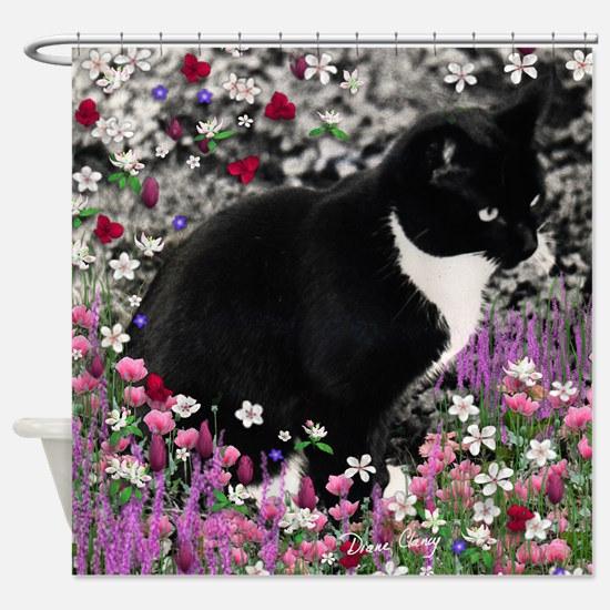 Freckles the Tux Cat in Flowers II Shower Curtain