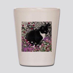 Freckles the Tux Cat in Flowers II Shot Glass