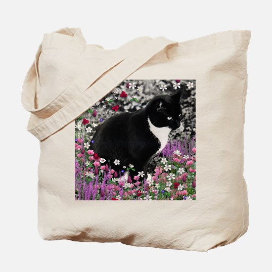 Freckles the Tux Cat in Flowers II Tote Bag