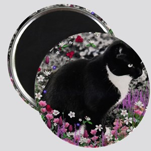 Freckles the Tux Cat in Flowers II Magnet