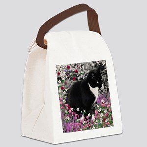 Freckles the Tux Cat in Flowers I Canvas Lunch Bag