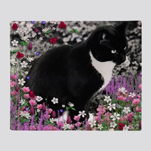 Freckles the Tux Cat in Flowers II Throw Blanket