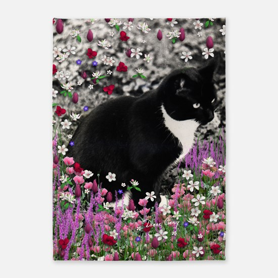 Freckles the Tux Cat in Flowers II 5'x7'Area Rug
