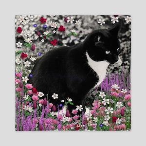 Freckles the Tux Cat in Flowers II Queen Duvet