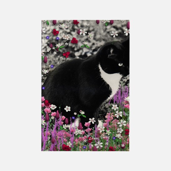 Freckles the Tux Cat in Flowers I Rectangle Magnet