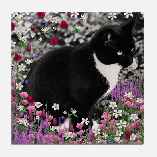 Freckles the Tux Cat in Flowers II Tile Coaster