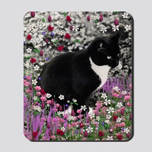Freckles the Tux Cat in Flowers II Mousepad