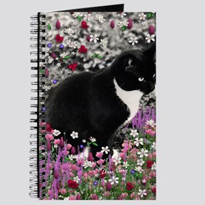Freckles the Tux Cat in Flowers II Journal