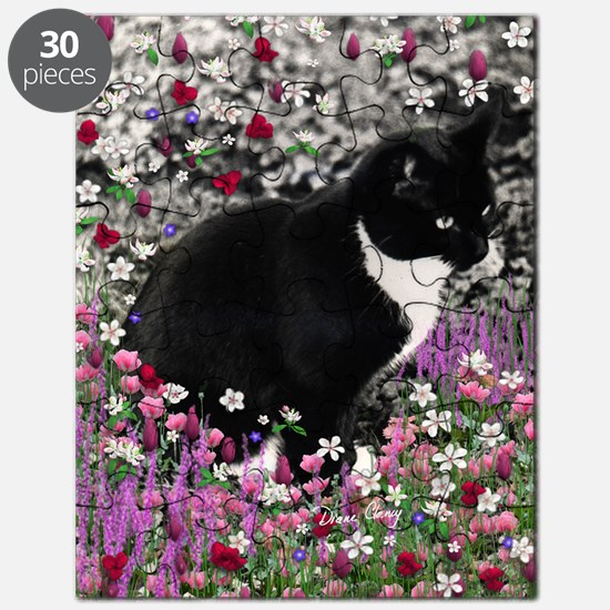 Freckles the Tux Cat in Flowers II Puzzle
