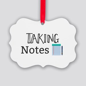 Taking Notes Picture Ornament