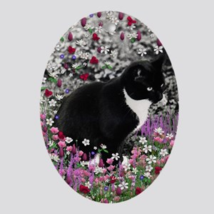 Freckles the Tux Cat in Flowers II Oval Ornament