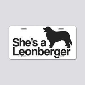She's a Leonberger Aluminum License Plate