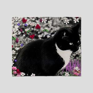 Freckles the Tux Cat in Flowers II Throw Blanket