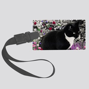 Freckles the Tux Cat in Flowers  Large Luggage Tag