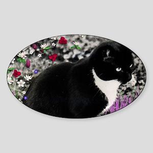 Freckles the Tux Cat in Flowers II Sticker (Oval)